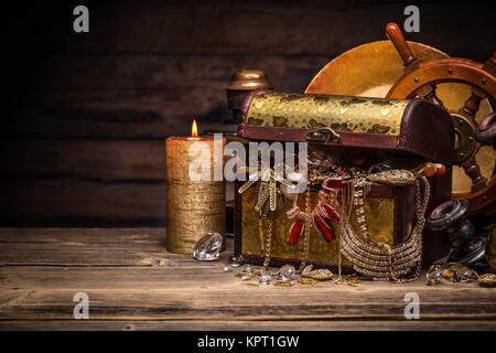 Composition of treasure chest - Stock Photo