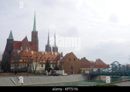 cross church and cathedral in wroclaw - Stock Photo