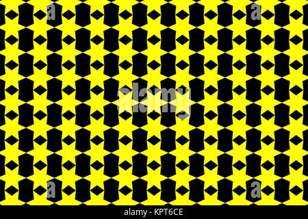Six-pointed star - black and yellow vector pattern - Stock Photo