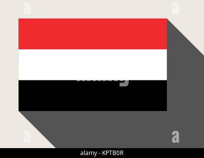 Yemen flag in flat web design style. - Stock Photo