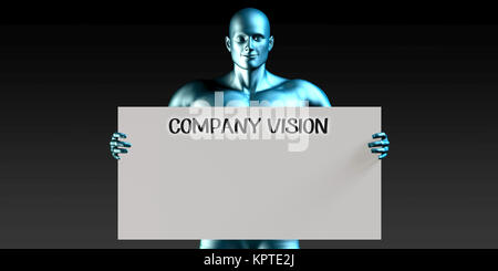 Company Vision with a Man Carrying Reminder Sign - Stock Photo