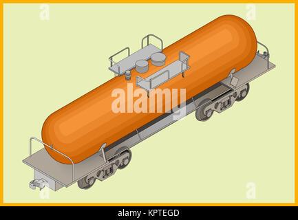 Vector isometric illustration of cistern railway tank for fuel transportation. Rail transportation isometric flat - Stock Photo