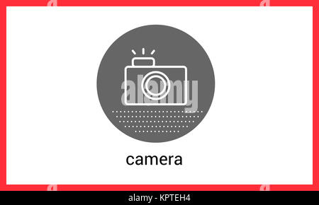 Camera contour outline vector icon. Photocamera linear pictogram - Stock Photo