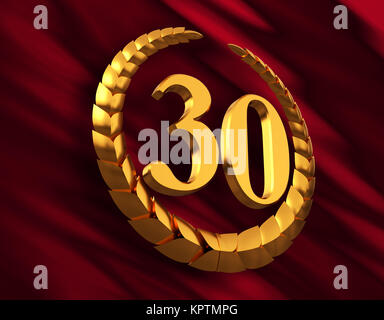 Anniversary Golden Laurel Wreath And Numeral 30 On Red Flag - Stock Photo