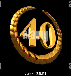 Anniversary Golden Laurel Wreath And Numeral 40 On Black Background - Stock Photo