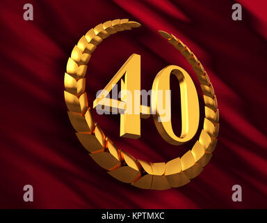 Anniversary Golden Laurel Wreath And Numeral 40 On Red Flag - Stock Photo