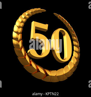 Anniversary Golden Laurel Wreath And Numeral 50 On Black Background - Stock Photo