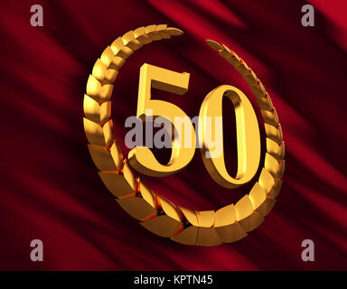 Anniversary Golden Laurel Wreath And Numeral 50 On Red Flag - Stock Photo