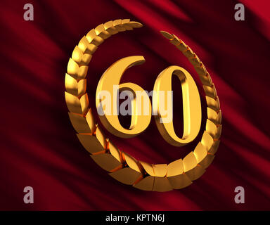 Anniversary Golden Laurel Wreath And Numeral 60 On Red Flag - Stock Photo
