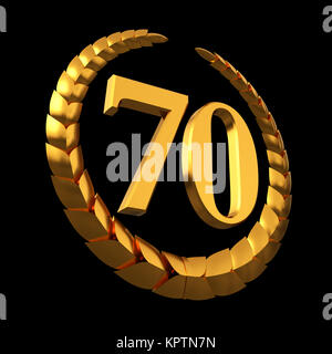 Anniversary Golden Laurel Wreath And Numeral 70 On Black Background - Stock Photo
