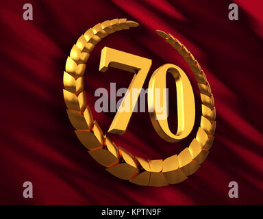 Anniversary Golden Laurel Wreath And Numeral 70 On Red Flag - Stock Photo