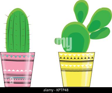 Vector illustration of three  cactus in flowerpots. with a message about life and cactus. - Stock Photo