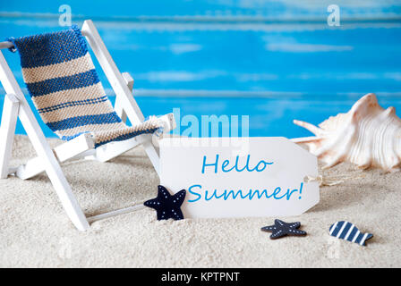 Summer Label With English Text Hello Summer. Blue Wooden Background. Card With Holiday Greetings. Beach Vacation - Stock Photo