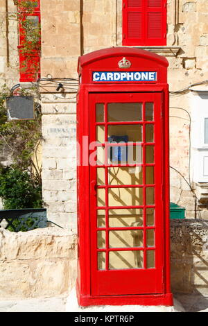 traditional english red phonebooth in valletta,malta - Stock Photo