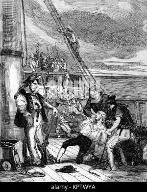 Fletcher Christian and the mutineers seize HMS Bounty on 28 April 1789. - Stock Photo