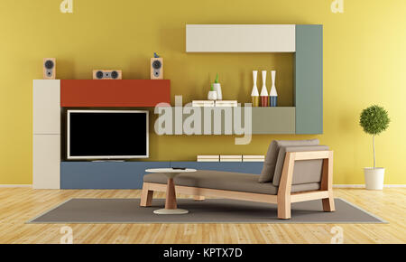 Modern lounge with colorful wall unit and tv set - 3D Rendering ...