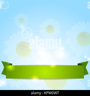 Spring design. Camomiles and ribbon - Stock Photo