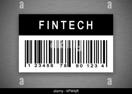 fintech or financial technology barcode label - Stock Photo