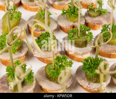 closeup canapes and snacks for catering - Stock Photo