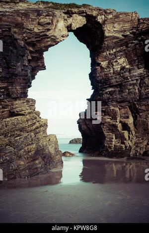 playa de las catedrales - beautiful beach in the north of spain. - Stock Photo
