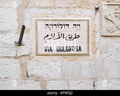 Street-sign Via Dolorosa in Jerusalem. - Stock Photo
