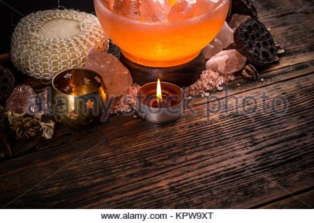 Glow salt lamp - Stock Photo