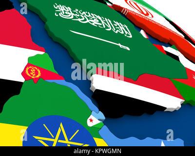 Yemen, Eritrea and Djibouti on globe with flags - Stock Photo