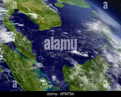 Malaysia from space - Stock Photo
