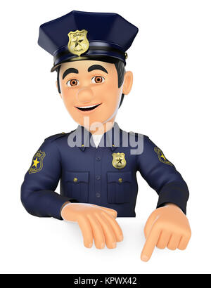 3D Policeman pointing down. Blank space - Stock Photo