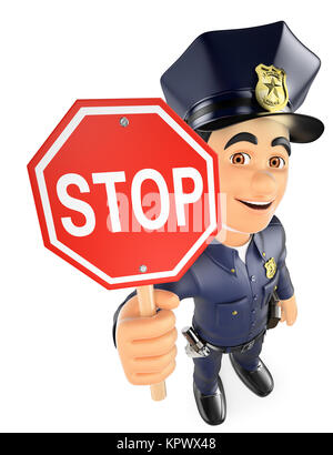 3D Policeman with a stop sign - Stock Photo
