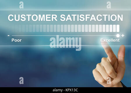 business hand clicking excellent customer satisfaction on virtual screen - Stock Photo