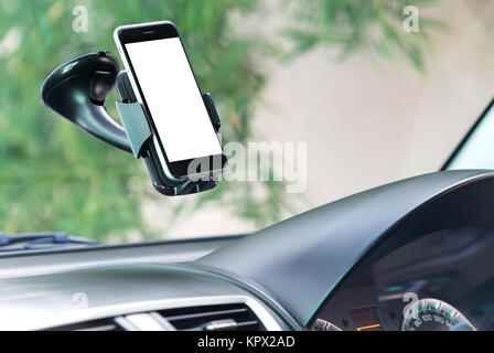 close up phone mounted in car - Stock Photo