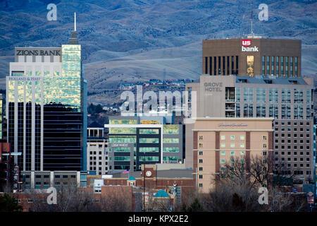 Boise Idaho cityscape in December 2017 - Stock Photo