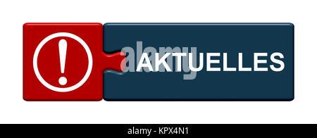 Isolierter Puzzle Button aus zwei Teilen mit Symbol zeigt Aktuelles - Stock Photo