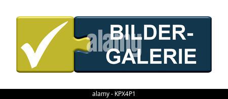 Isolierter Puzzle Button aus zwei Teilen mit Symbol zeigt Bildergalerie - Stock Photo