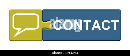 Isolierter Puzzle Button aus zwei Teilen mit Symbol zeigt Contact - Stock Photo