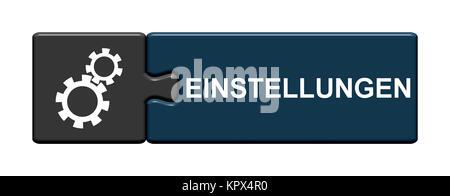 Isolierter Puzzle Button aus zwei Teilen mit Symbol zeigt Einstellungen - Stock Photo