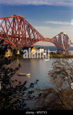 Forth Bridge and raw boat - Stock Photo