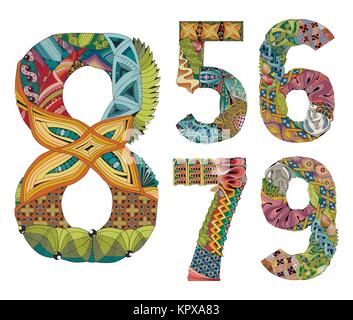 Set of numbers five, six, seven, eight, nine Zentangle. Vector decorative objects - Stock Photo