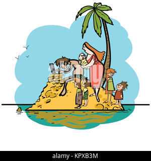 The programmer is on vacation desert island and family - Stock Photo