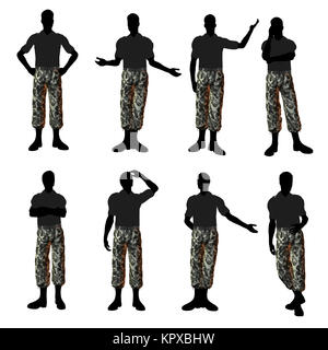 Male Soldier dressed in camouflage Illustration Silhouette - Stock Photo