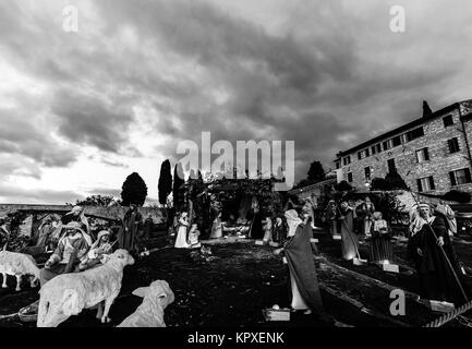 Nativity scene in Assisi, in front of S.Francesco papal church, Christmas 2017 - Stock Photo