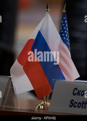 Baikonur, Kazakhstan. 16th Dec, 2017. Flags representing the nations of the Expedition 54 crew members are seen - Stock Photo