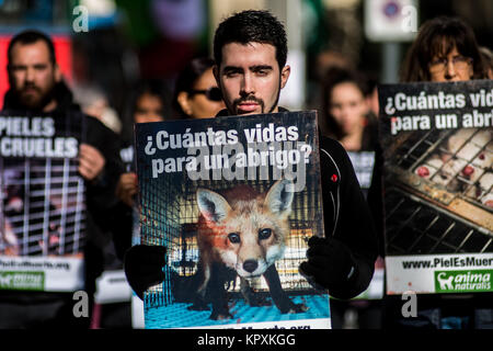 Madrid, Spain. 17th Dec, 2017. Activists of pro-animal rights group 'Anima Naturalis' protesting against the use - Stock Photo