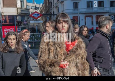 Madrid, Spain. 17th December, 2017. Madrid citizens protest against the employment of animal fur in fashion industry - Stock Photo