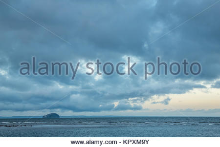 Belhaven, East Lothian, Scotland, United Kingdom, 17th December 2017. Bass Rock on the horizon in the Firth of Forth, - Stock Photo