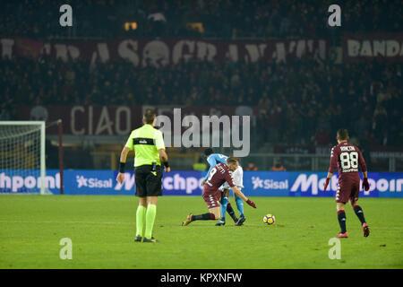 Turin, Italy. 16th Dec, 2017. Amadou Diawara (SSC Napoli), Andrea Belotti (Torino FC), Tomas Rincon (Torino FC), - Stock Photo