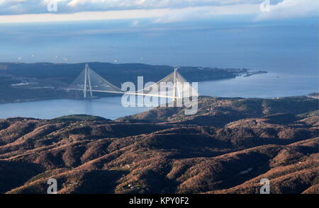 Istanbul, Turkey. 14th Dec, 2017. An aerial image of Istanbul and the Yavuz Sultan Selim Bridge across the Bosphorus. - Stock Photo