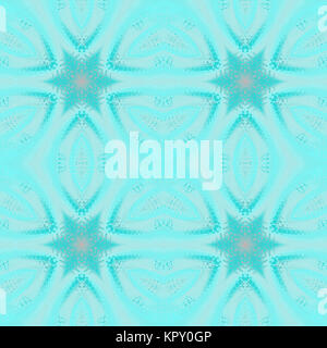 Geometric seamless background, abstract frost pattern. Regular stars turquoise and pastel blue with pink elements - Stock Photo