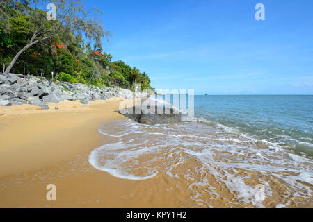 View of scenic Trinity Beach, a popular Northern Beaches suburb of Cairns, Far North Queensland, FNQ, QLD, Australia - Stock Photo